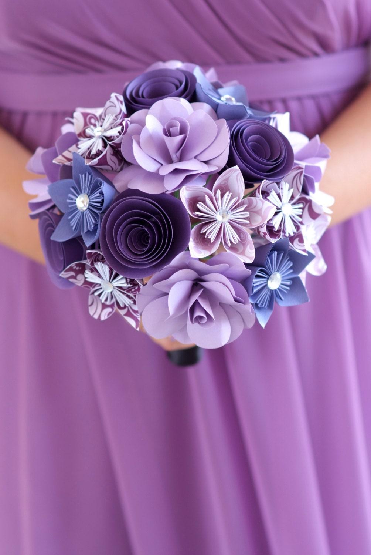 Paper Flower Bouquet Purple Flowers Paper Gift Paper Etsy