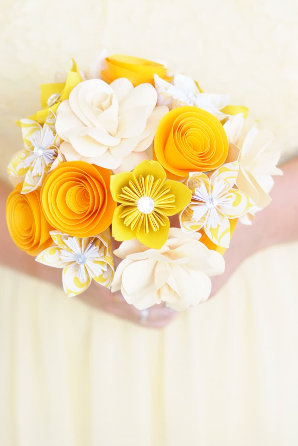 Paper Flower Bouquet Yellow Flowers Paper Gift Paper Etsy