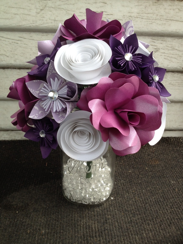 Paper Flower Bouquet Purple Flowers Purple Rose White Etsy