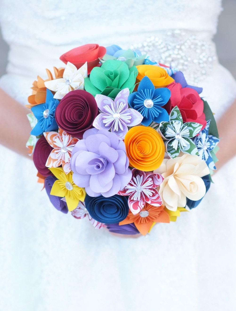 Paper Flower Bouquet Rainbow Flowers Paper Gift Paper Etsy