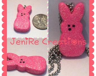 Easter Bunny Peep Polymer Clay Handmade Charm Necklace kawaii / Pink