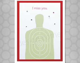 I Miss You Target Funny Illustrated Card