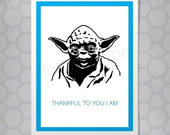 Star Wars Yoda Thank You Funny Illustrated Card