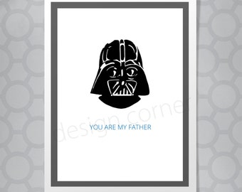 Star Wars Darth Vader Fathers Day or Birthday Funny Illustrated Card