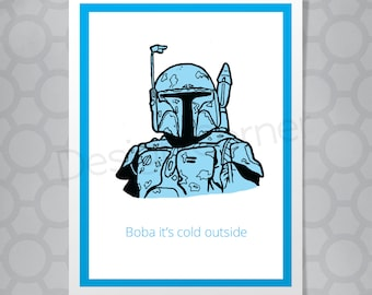 Star Wars Boba Fett Funny Illustrated Christmas Card