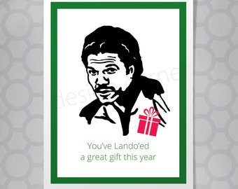 Star Wars Lando Calrissian Christmas Funny Illustrated Card