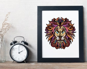 Graphic Lion Illustrated Print
