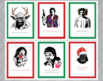 Set of 6 Star Wars Christmas Funny Illustrated Cards