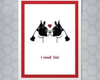 Mya the Boston Terrier Valentine's Day or Love Funny Illustrated Card