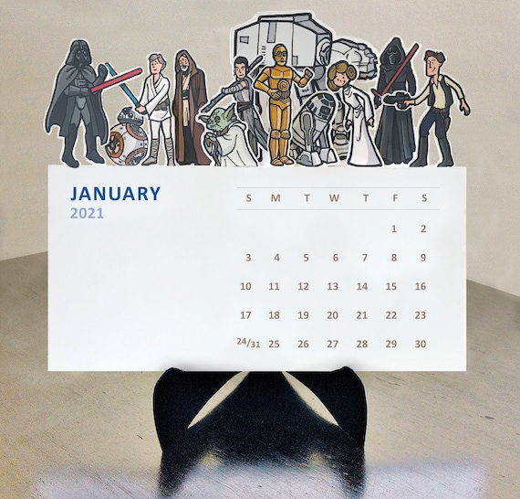 Star Wars Die Cut 2021 Illustrated desk calendar | Etsy