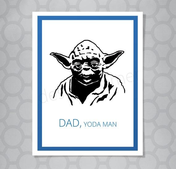 Star Wars Yoda Vater Geburtstag Lustige Illustrierte Karte Etsy