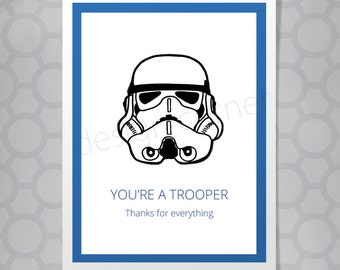 Star Wars Storm Trooper Thank You Funny Illustrated Card