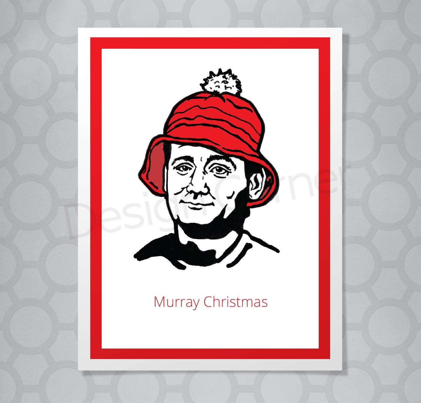 Bill Murray Funny Illustrated Christmas Card | Etsy