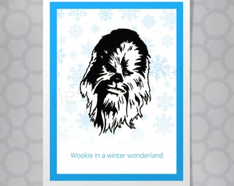 Star Wars Chewbaca Christmas Funny Illustrated Card