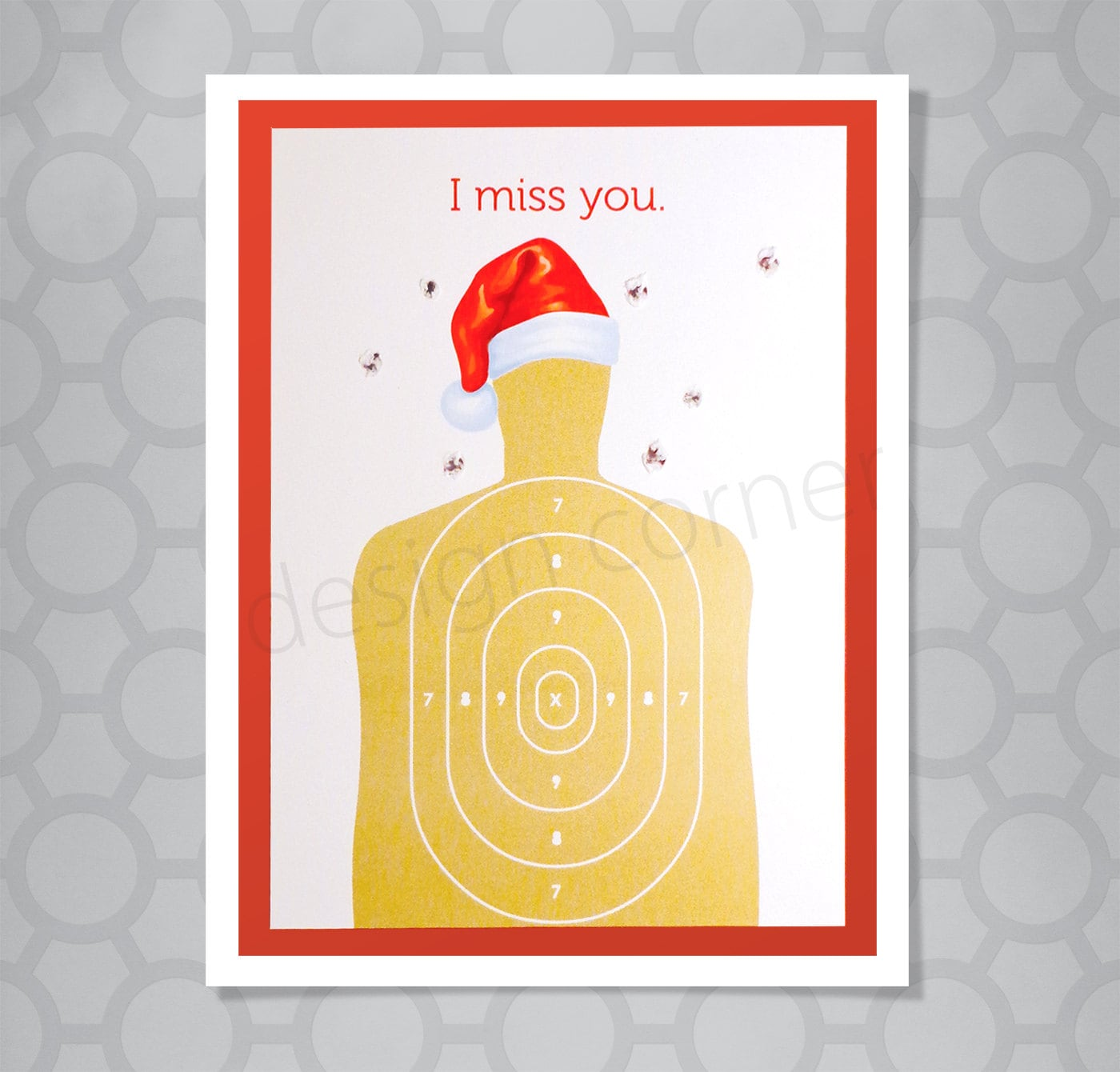 I Miss You Target Funny Illustrated Christmas Card   Etsy