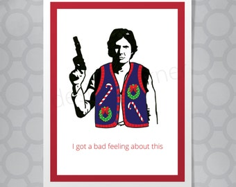 Star Wars Hans Solo Funny Illustrated Christmas Card