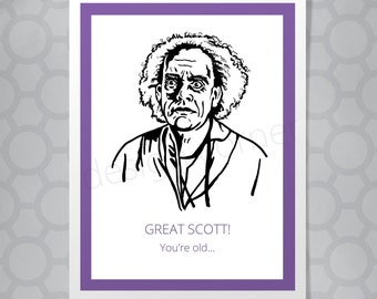 """Back to the Future Emmett """"Doc"""" Brown Great Scott Funny Illustrated Card"""