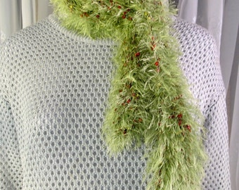 Women's narrow and long hand crocheted lime green shaggy scarf