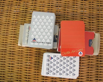Vintage 80's 3 packs of standard size Delta Air lines playing cards