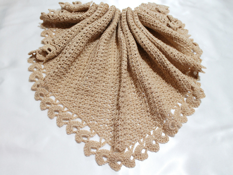 Baktus Scarf Crocheted Handmade Shawl Triangle Beige Etsy