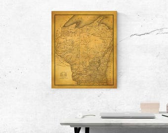 Large Vintage Map Of Wisconsin 2 Finish Options Print Or Gallery Wrap 6