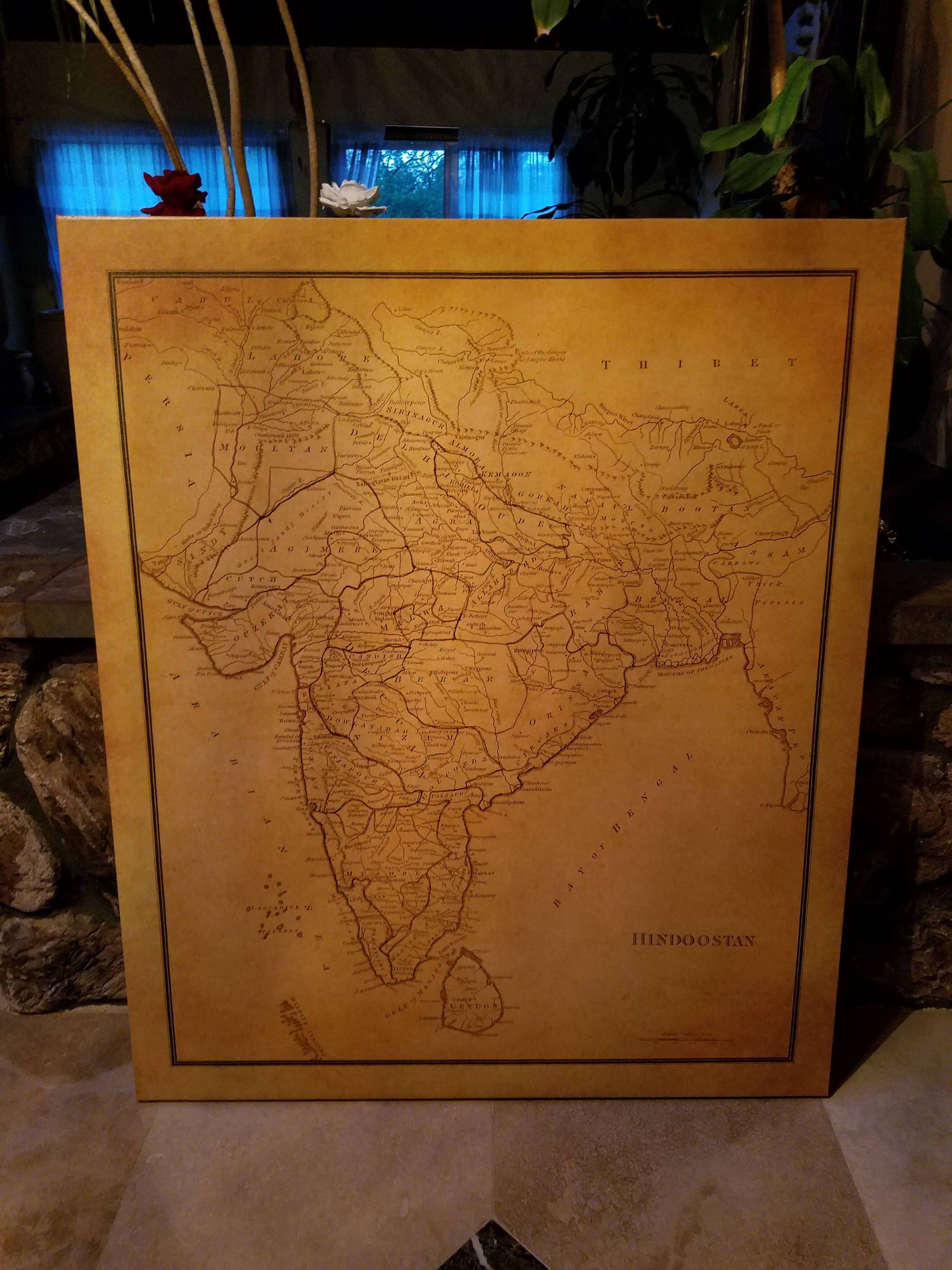 Old Map Of India, Hindoostan, Paper or Canvas, Only rolled print