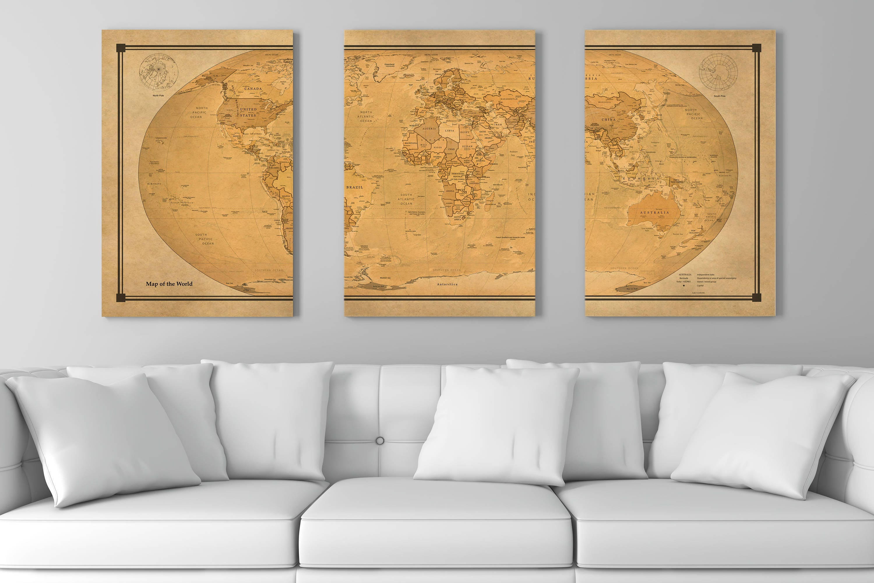 Current World Map Canvas Old Look Triptych Huge 60120 Ready To