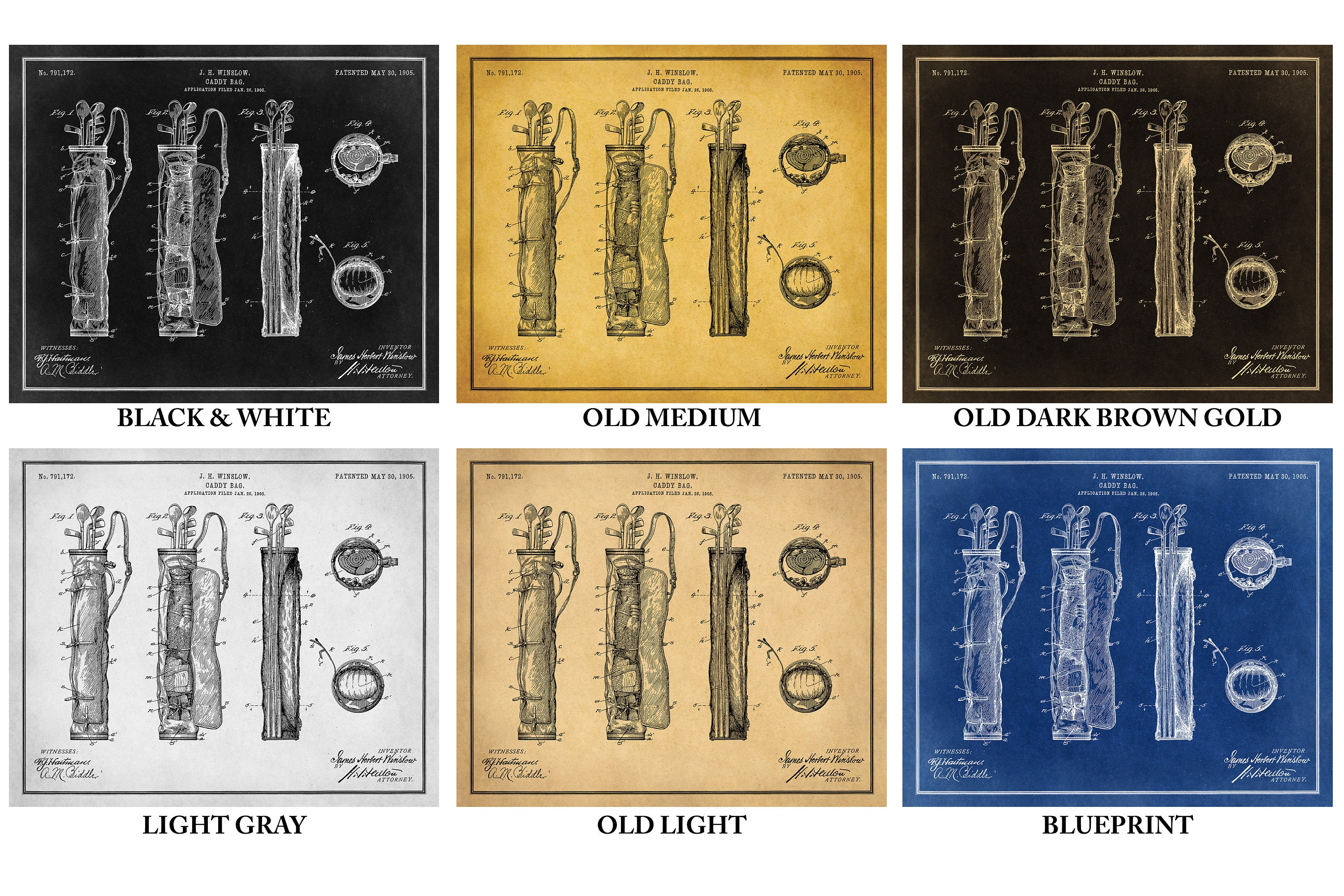 Golf Caddy Bag Patent Wall Art on Paper or Canvas! 2 options: print ...