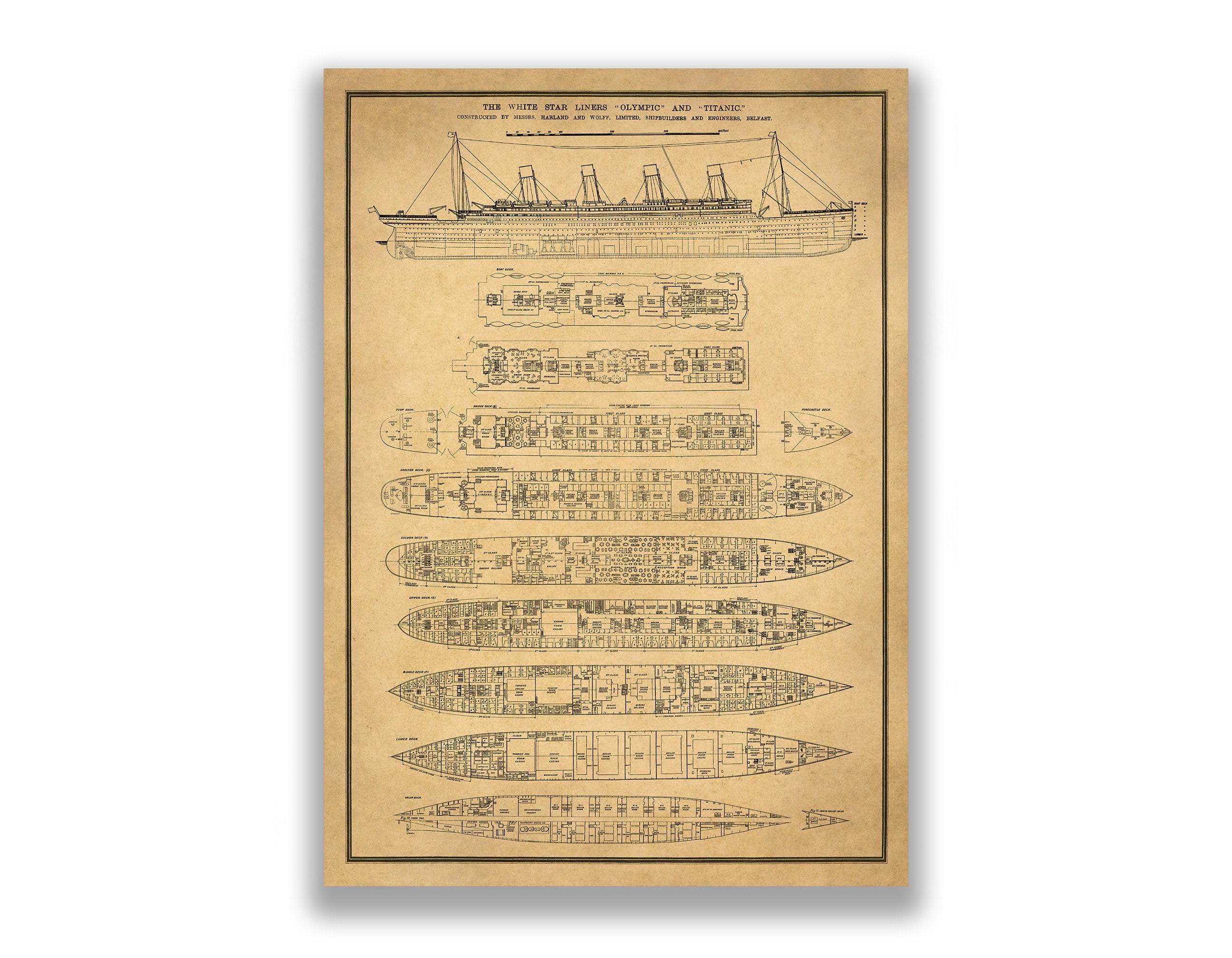 40x56 Max. Titanic Plan Wall Art, 2 finish options: print or gallery ...