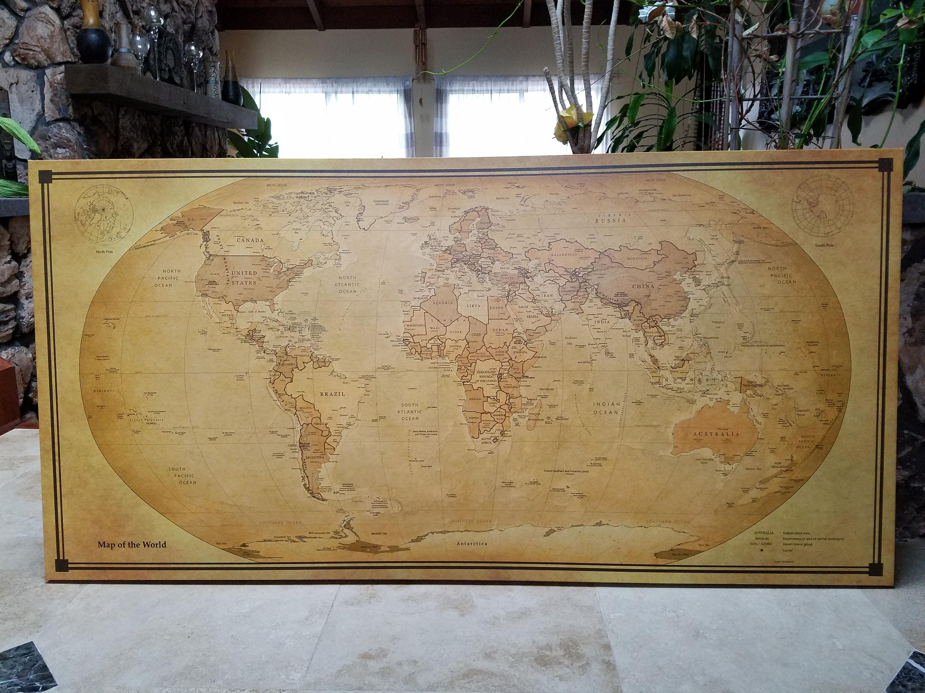 f34ca8eac2 World Map canvas or paper with old look! 40