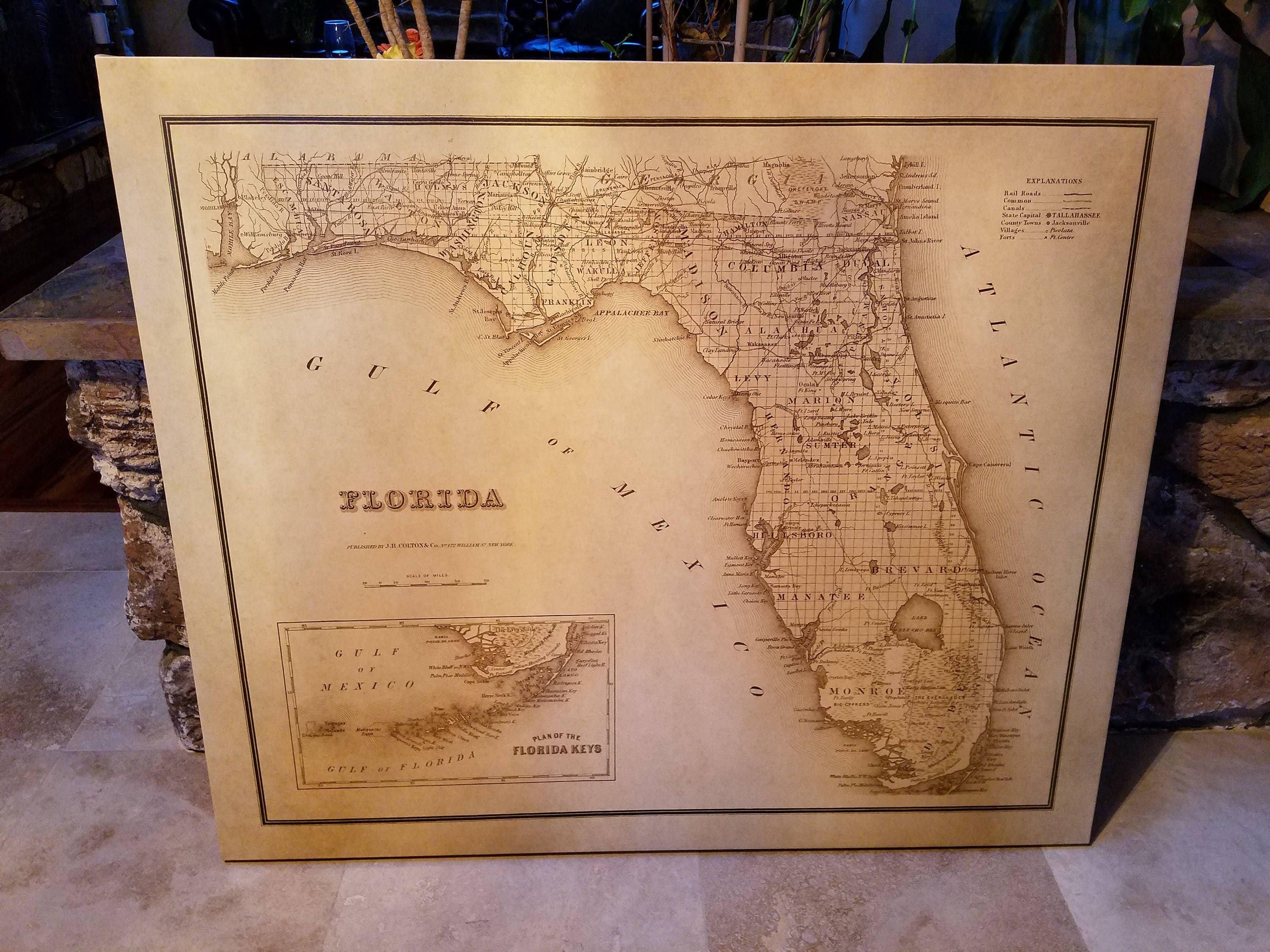 Large Map Of Florida.Old Map Of Florida Large Map Paper Or Canvas Ready To Hang
