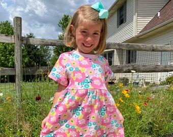 Pink Floral Jersey Knit Dress - Toddler Girls Spring Dresses - Knit Dresses For Little Girls  - Floral Dresses For Baby Girls - Baby Dresses