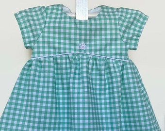 Checked Dress - Gingham Dress - Cotton Baby Dress - Empire Waist Baby Dresses -  Mint Green Summer Dresses
