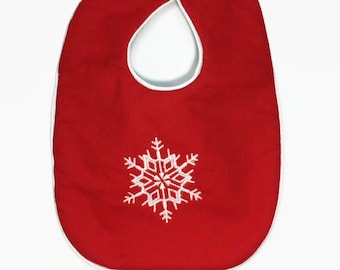 Christmas Bib - Snowflake bib - Holiday Bibs - Baby's first Christmas - Red Bib With Snowflake - Bib Baby Girl - Baby Gifts - Baby boy Bib