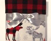 Buffalo Plaid Blanket - Flannel Baby Blanket With Moose - Christmas Baby Blanket - Receiving Blankets - Baby Boy Blanket - Rustic Nursery