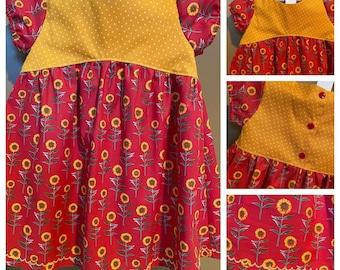 Girls Sunflower Dress - Fall Dress For Baby Girl - Toddler Floral Dresses - Sunflower Dress For Toddlers - Gifts For Girls