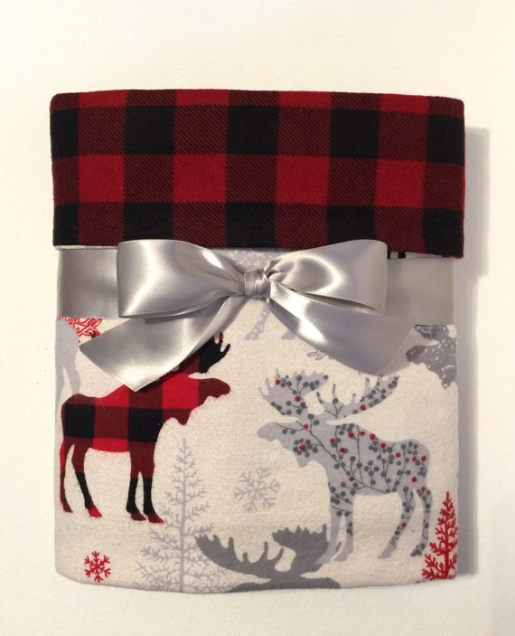 Christmas Blankets.Buffalo Plaid Blanket Flannel Baby Blanket With Moose