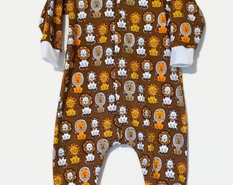 Lion Romper With Snaps - Baby Boy Clothing - One Piece Overalls - Jersey Knit Creepers - Knit Creepers Without Feet - Baby Boy Sleepers