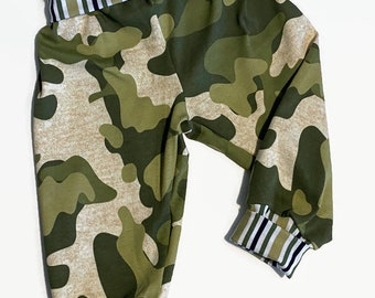 Camouflage Grow With Me Pants - Camouflage Jersey Knit Lounge Pants - Knit Camo Seat Pants For Boys -