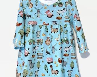 Baby Girl Farm Dress - Toddler Farm Animal Dress - Jersey Knit Dress For Little Girl - Birthday Dress For Farm Party- Toddler Girls Clothes