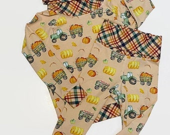 Girls Fall Leggings And Hoodie Set - Toddler Fall Pumpkin Outfit - Grow With Me Sweatshirt And Pants - Farm Gender Neutral Kids Sets