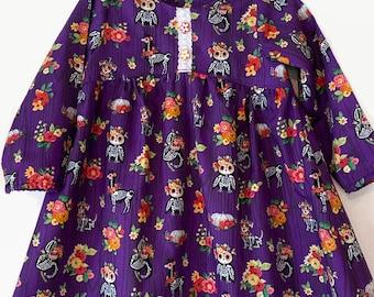 Girls Floral Halloween Dress - Baby Girl PHalloween Dress - Toddler Fall Dresses - Autumn Dresses For Toddlers - Skeleton Dress For Toddler