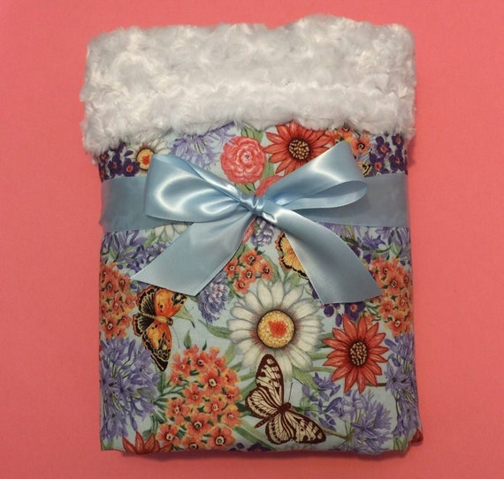 QUICK SHIP 3-5 days Personalization Minky Blanket Soft Pastel Blush Bohemian Flowers Full Size Baby Girl Floral Minky Crib Blanket