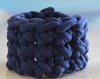 Navy Cuff Bracelet - Crochet, Jersey Cotton