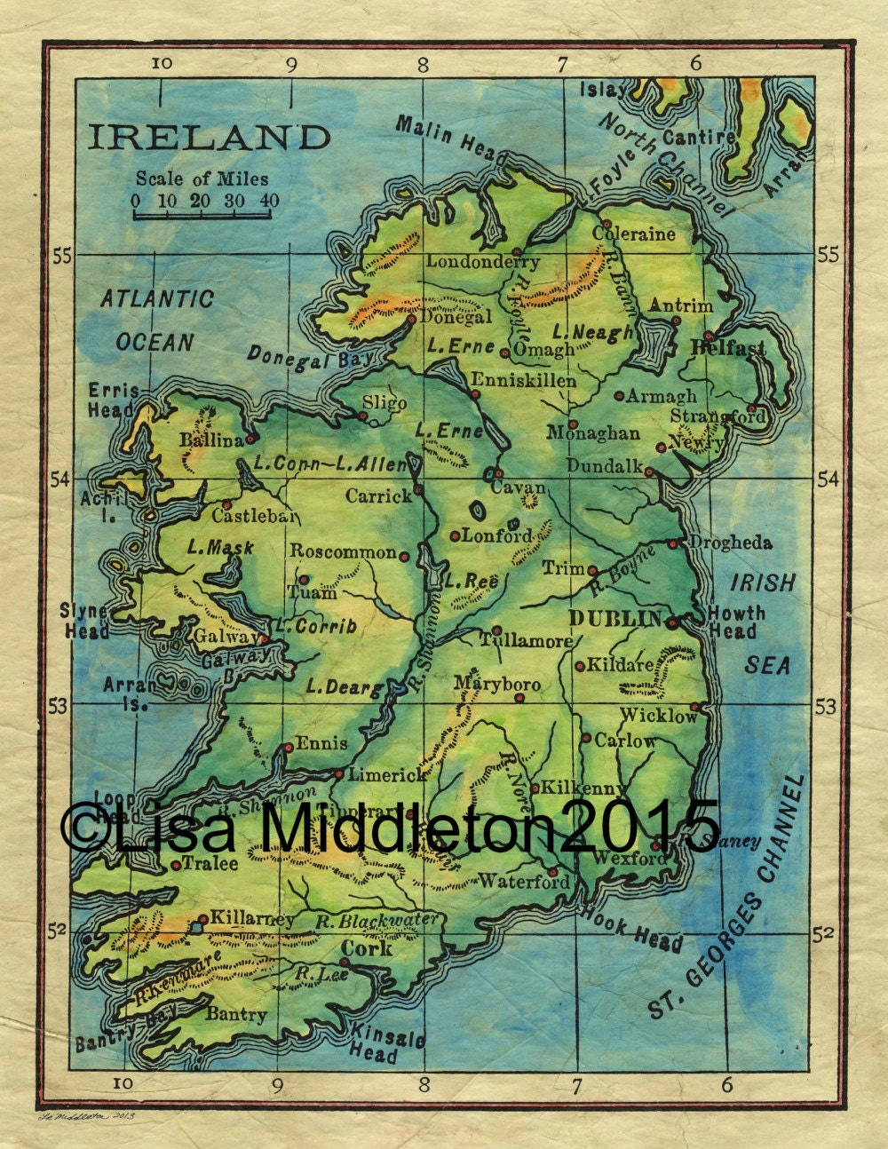 Full Map Of Ireland.Vintage Ireland Map Ireland Map Ireland Map For Framing Etsy