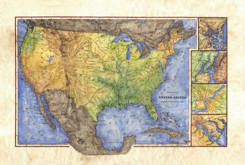 old school map map gifts rivers fishing gifts old map watershed traveler gifts river map united states map us map