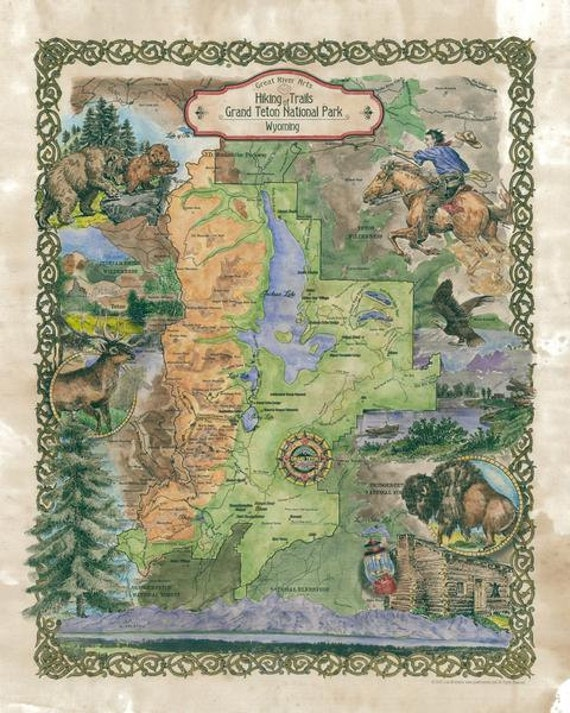 Teton, Grand Teton, Teton map, hiker gift, wyoming map, old wyoming map,  national park map, wyoming gifts, mountains, cowboy, western decor
