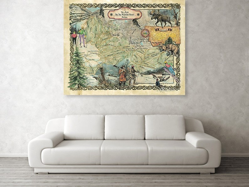 Big Sky Mountain Montana Ski Map Montana Map Resort Maps Etsy