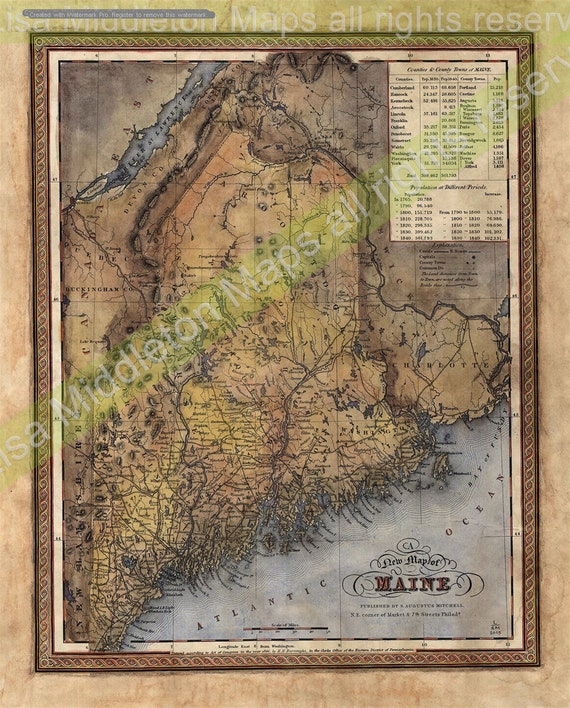 Maine Map Map Maine Old Map Maine Maine Map Art Historical Etsy