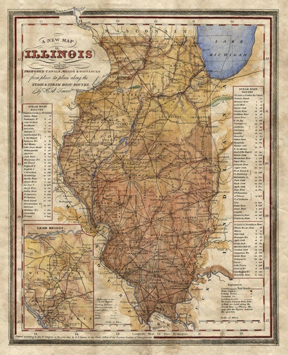 railroa Illinois map steamboat map old map of illinois illinois railroad map